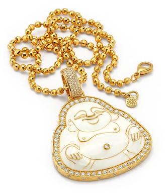 BUDDHA MAMA 20kt yellow gold diamond large Happy Buddha pendant