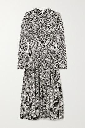 Officine Generale Hailey Printed Satin Midi Dress - Ivory