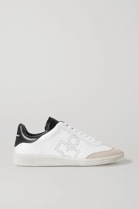 Isabel Marant Bryce Suede-trimmed Perforated Leather Sneakers - White