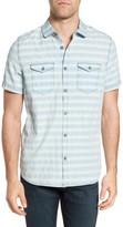 Jeremiah Men's Abbott Regular Fit Dobby Stripe Sport Shirt