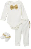 Baby Starters Ivory & Gold Bow Bodysuit Set - Infant