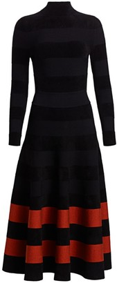 Oscar de la Renta Long-Sleeve Striped Knit Turtleneck Midi Dress