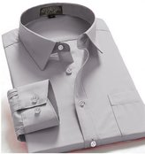 Guytalk Mens Solid Color Regular Fit long sleev Dress Shirts