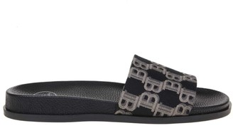 Balmain Paton Sandal In Black / Beige Fabric