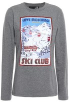 Love Moschino Sequin-embellished Printed Stretch-cotton Jersey Top