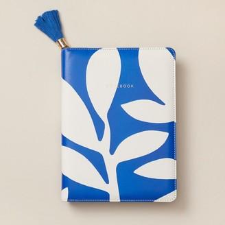 Indigo Paper Refillable Zip Journal Abstract Boho Bright Palm Blue
