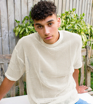 ASOS DESIGN Tall oversized t-shirt with half sleeve in ecru natural mesh