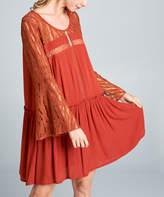 Simply Boho La Simply Boho LA Women's Casual Dresses rust - Rust Lace-Accent Drop-Waist Dress - Women