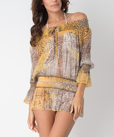 Yellow Safari Off-Shoulder Cover-Up