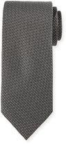Neiman Marcus Micro Woven Silk Tie, Black
