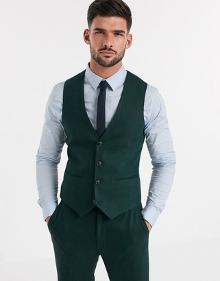 ASOS DESIGN wedding skinny suit suit vest in wool mix herringbone in forest green