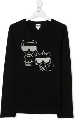 Karl Lagerfeld Paris TEEN graphic print long-sleeve top