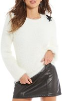 Gianni Bini Sailor Embellished Eyelash Sweater