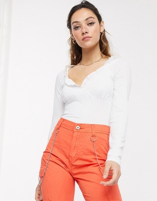 Another Reason milkmaid top with ruffle detail