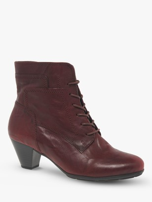 Gabor National Lace Up Cone Heel Ankle Boots, Merlot Leather