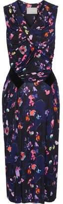 Jason Wu Ruched Floral-print Stretch-jersey Midi Dress