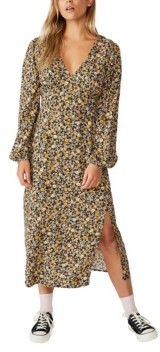 Cotton On Women's Woven Heather Long Sleeve Midi Dress