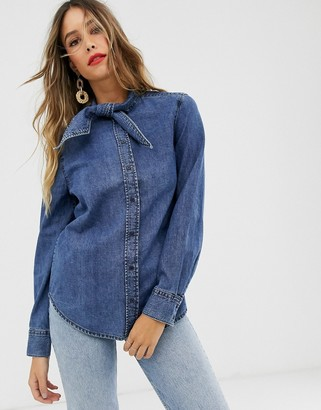 And other stories & denim shirt with pussy bow in blue
