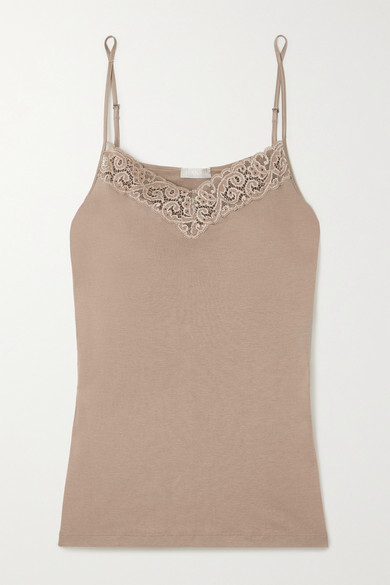 Thumbnail for your product : Hanro Moments Lace-trimmed Cotton-jersey Camisole - Taupe