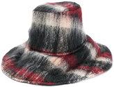 Maison Michel checked wide brim hat