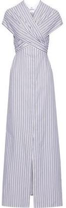 Rosetta Getty Wrap-effect Striped Cotton Maxi Dress