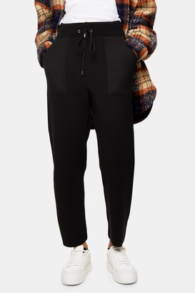 Topshop Womens Black Ovoid Knitted Joggers - Black