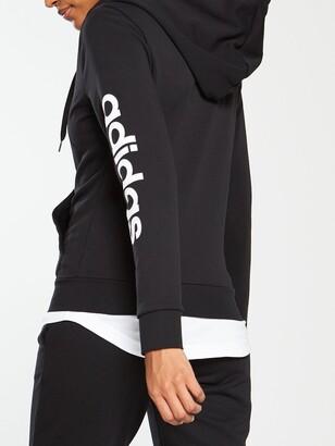 adidas Linear 3 Stripe Full Zip Hoodie- Black