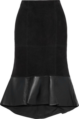 Alice + Olivia Kina Fluted Leather-paneled Suede Skirt