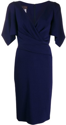 Talbot Runhof V-Neck Wrap Dress
