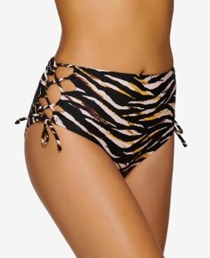 Hula Honey Juniors' Eternal Animal High-Waist Side-Tie Bikini Bottoms, Created for Macy's Women's Swimsuit