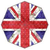 Fashion Custom Umbrella Custom Auto Foldable Umbrella with Vintage Red Polka Dots Floral UK Union Jack Flag and Blue Damask Background 3D Printed Design