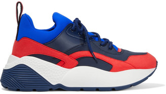Stella McCartney Eclypse Color-block Neoprene, Faux Leather And Suede Exaggerated-sole Sneakers
