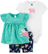 Carter's 3-Pc. Shirt, Bodysuit & Shorts Set, Baby Girls