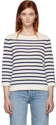 A.P.C. Off-White and Navy Stripe Claudine Pullover