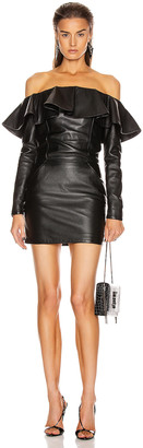 Saint Laurent Leather Mini Dress in Black | FWRD