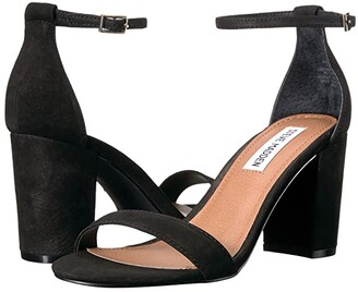 Steve Madden Exclusive - Declair Block Heeled Sandal (Black Nubuck) High Heels