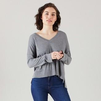 Naadam Volant Silk Cashmere V Neck High Low Gray