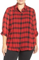 Foxcroft Buffalo Plaid Pintuck Pleat Blouse (Plus Size)