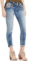 Vigoss Jeans Embellished Pocket Rolled Cuff Woven Stretch Ankle Skinny Jeans