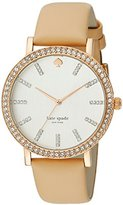 Kate Spade Women's 1YRU0446 Metro Crystal-Accented Rose Gold Ion-Plated Watch with Beige Leather Band