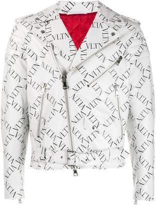 Valentino VLTN grid print leather jacket