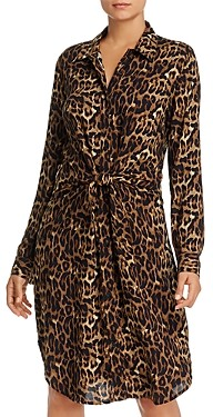 BeachLunchLounge Leopard Print Tie-Front Shirt Dress