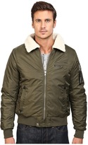 Members Only Military Bomber Jacket with Sherpa Collar