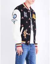 Kenzo Wild flower wool-blend and leather varsity jacket