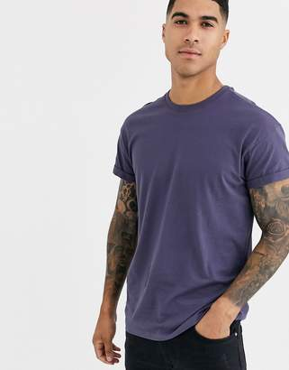 New Look roll sleeve t-shirt in navy