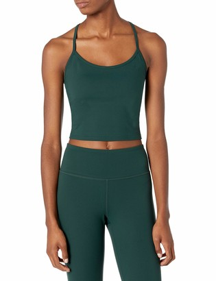Core 10 Amazon Brand Women's Spectrum Cropped Strappy Tank with Built-in Support Yoga Bra