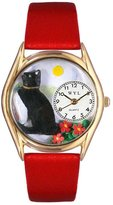 Whimsical Watches Kids' C0120009 Classic Gold Basking Cat Red Leather And Goldtone Watch