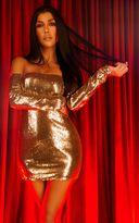 PrettyLittleThing Black Sequin Long Sleeve Bardot Bodycon Dress
