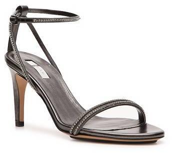 Calvin Klein Collection Kelena Rhinestone Leather Ankle Strap Sandal