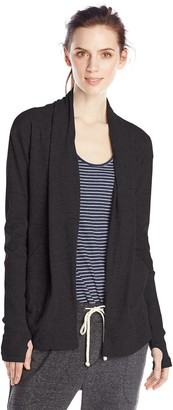 Alternative Women's Rib Sleeve Jersey Wrap Cardigan - Black - Small
